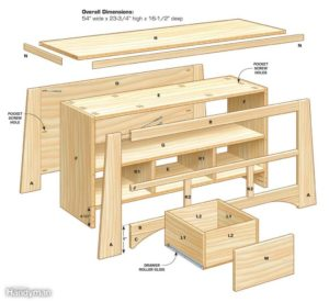 Steigerhout tv meubel bouwtekening.