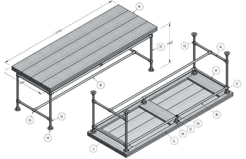 Steigerplanken tafel bouwtekening.