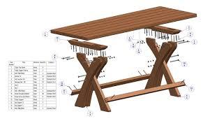 Tuintafel steigerhout bouwtekening.