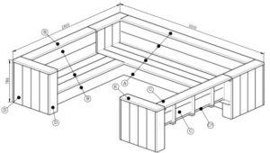 Verrassend Werktekening loungebank steigerhout nodig? Hier gratis bouwtekeningen! IS-12