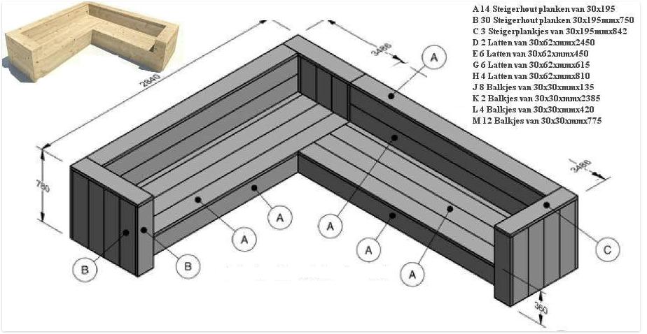 Hoekbank steigerhout bouwpakket.