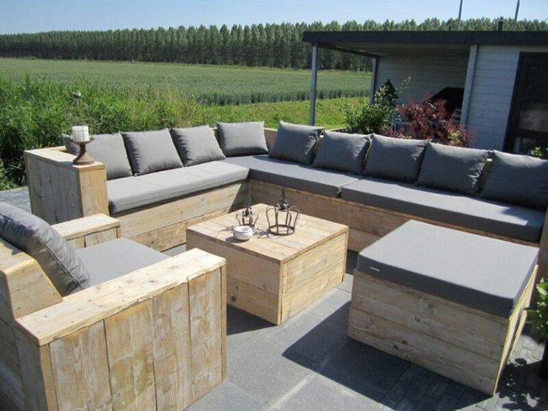 Steigerhout loungeset.