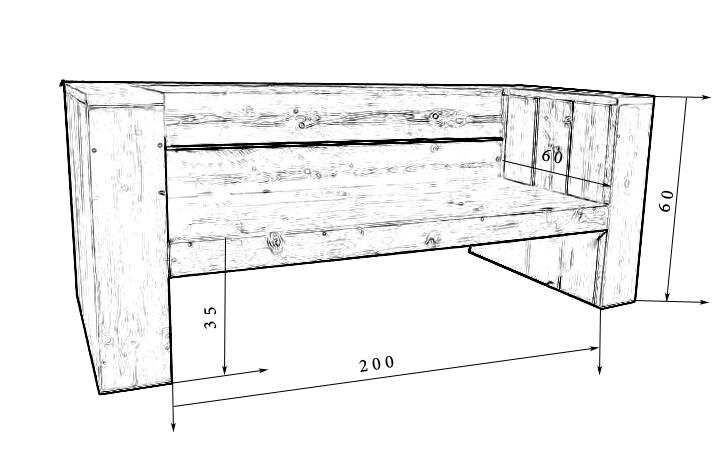 Steigerhout bank tekening.